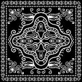 Black Bandana Print, silk neck scarf or kerchief Royalty Free Stock Photo