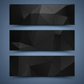 Black banners abstract backgrounds poligonal Stock Image