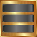 Black banners golden panel with Stock Image