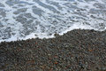 Black beach of hilo close up image sand on the Stock Photos