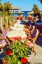 Black beach restaurant Kamari Santorini Greece Royalty Free Stock Photo