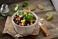Black bean and corn salsa closeup of Royalty Free Stock Photo