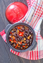 Black beans with chili on a table Royalty Free Stock Photo