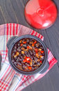 Black beans with chili on a table Stock Photo