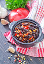 Black beans with chili on a table Royalty Free Stock Image