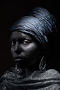 Black beauty woman with skin in traditional turban studio shot Royalty Free Stock Images