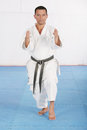 Black belt karate man doing his kata Royalty Free Stock Photos