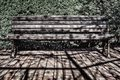 Black bench on a bright sunny day on a background of foliage with wrought iron legs in grunge style Royalty Free Stock Photo