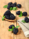 Black berry sweet blackberry on wooden table Stock Photos
