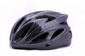 Black bicycle helmet on white background. Royalty Free Stock Photo