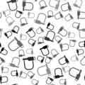 Black Bicycle lock U shaped industrial icon isolated seamless pattern on white background. Vector Illustration Royalty Free Stock Photo