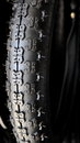 Black bicycle tire Royalty Free Stock Photo