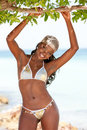 Black bikini woman smiling Royalty Free Stock Photo