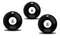 Black billiard balls number eight
