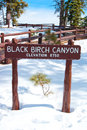 Black birch canyon sign a at the bryce national park in utah usa in winter Royalty Free Stock Photography