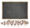 Black blank blackboard with wooden frame and block Royalty Free Stock Photo