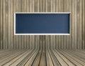 Black blank chalkboard on wood wall
