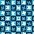 Black blue square with blue and white flower checkered pattern b Royalty Free Stock Photo