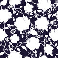 Black blue and white floral seamless pattern. Royalty Free Stock Photo