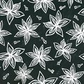 Black Board Background and Chalk. Anise Star Seed and Cloves Seamless Endless Pattern. Seasonal Food Background. Cooking or Aromat
