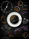 Black board with coffee cup, plate and design sweet elements Royalty Free Stock Photo