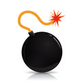 Black bomb old fashioned round with lit fuse Royalty Free Stock Photography