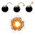 Black bombs burning, explosion Royalty Free Stock Images