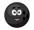 Black bowling ball with a happy smile cartoon on white for sports design Royalty Free Stock Photography