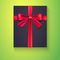 Black box, red ribbon, bow Stock Photo