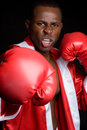 Black Boxing Man Stock Photo