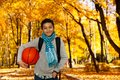 Black boy with ball in park Royalty Free Stock Photo
