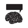 Black brain mark with talking cloud.