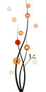 Black branches red orange yellow flowers isolated white background vector illustration Royalty Free Stock Photo