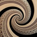 on black bronze copper geometrical abstract ornament spiral fractal pattern background. Metal spiral pattern effect Royalty Free Stock Photo