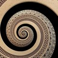 on black bronze copper geometrical abstract ornament spiral fractal pattern background. Metal spiral pattern effect backg Royalty Free Stock Photo