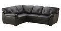 Black brown leather sofa bed isolated on white Royalty Free Stock Photo