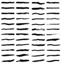 Black brush strokes set of various paint or markings on white Stock Image