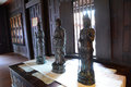 Black budda statue in ancient hall Royalty Free Stock Photos