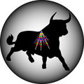Black bull with banderillas Royalty Free Stock Images