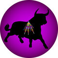 Black bull with banderillas Royalty Free Stock Photography