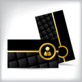 Black business card with business man icon design gold Royalty Free Stock Photography