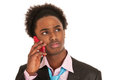 Black business man with mobile phone Royalty Free Stock Image