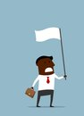 Black businessman with a white flag african american briefcase waving of truce or surrender cartoon flat style Stock Images