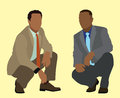 Black businessmen business men squatting or kneeling down Stock Photos