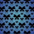 Black butterflies with a shadow on blue background Royalty Free Stock Photography