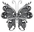 Black butterfly tattoo design and white Stock Photos