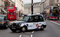 A Black Cab in Regent Street , London Royalty Free Stock Photo