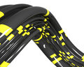 Black cables with yellow stripes Royalty Free Stock Image