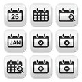 Black calendar grey square buttons isolated on white Stock Photo