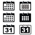 Black calendar icon set
